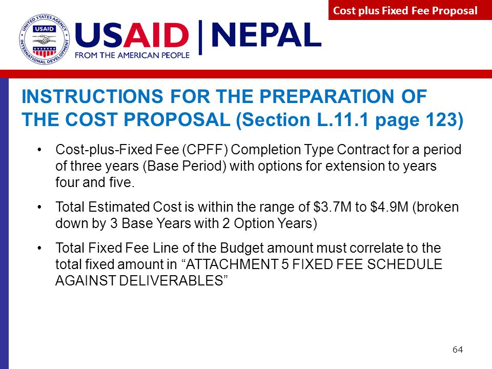 Cost plus Fixed Fee Proposal