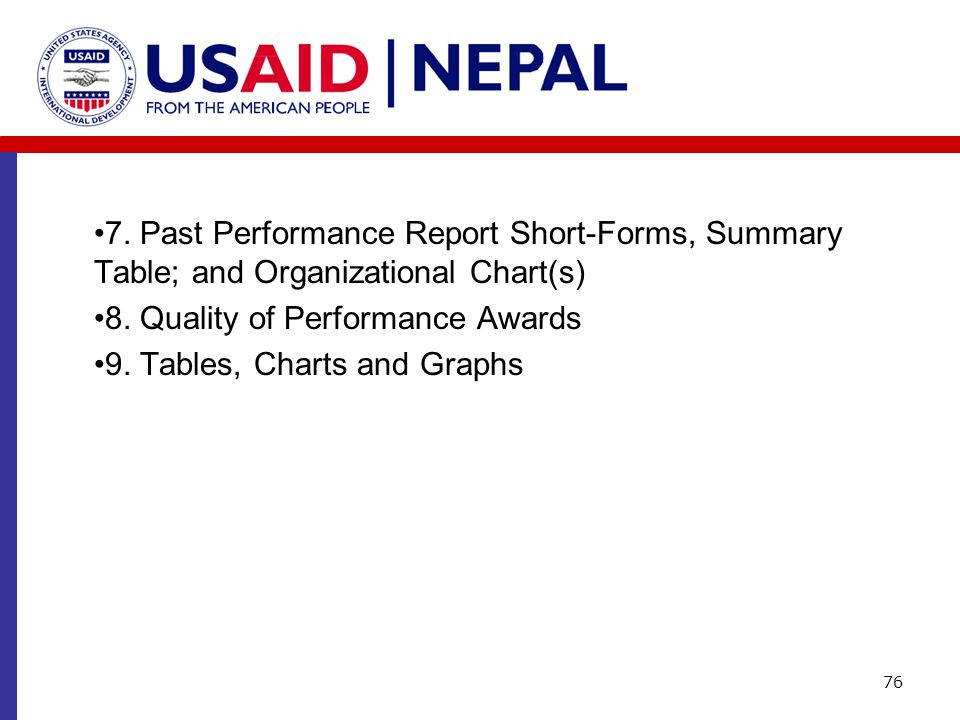 7. Past Performance Report Short-Forms, Summary Table; and Organizational Chart(s)