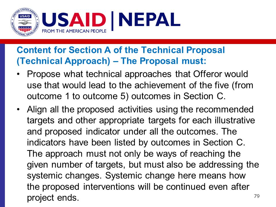 Content for Section A of the Technical Proposal (Technical Approach) – The Proposal must: