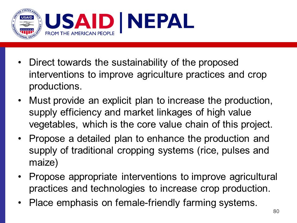 Direct towards the sustainability of the proposed interventions to improve agriculture practices and crop productions.