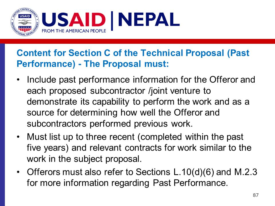 Content for Section C of the Technical Proposal (Past Performance) - The Proposal must: