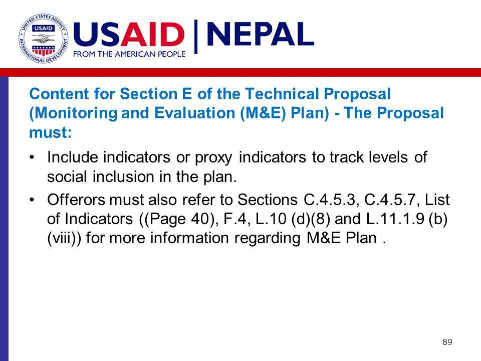 Content for Section E of the Technical Proposal (Monitoring and Evaluation (M&E) Plan) - The Proposal must: