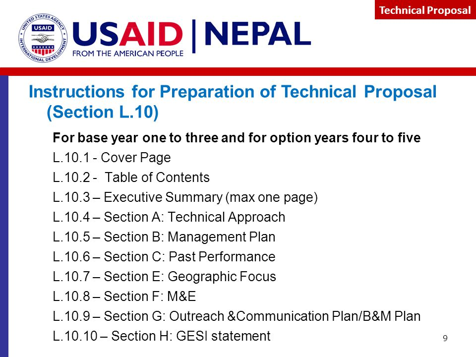 Instructions for Preparation of Technical Proposal (Section L.10)
