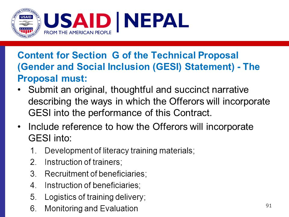 Content for Section G of the Technical Proposal (Gender and Social Inclusion (GESI) Statement) - The Proposal must: