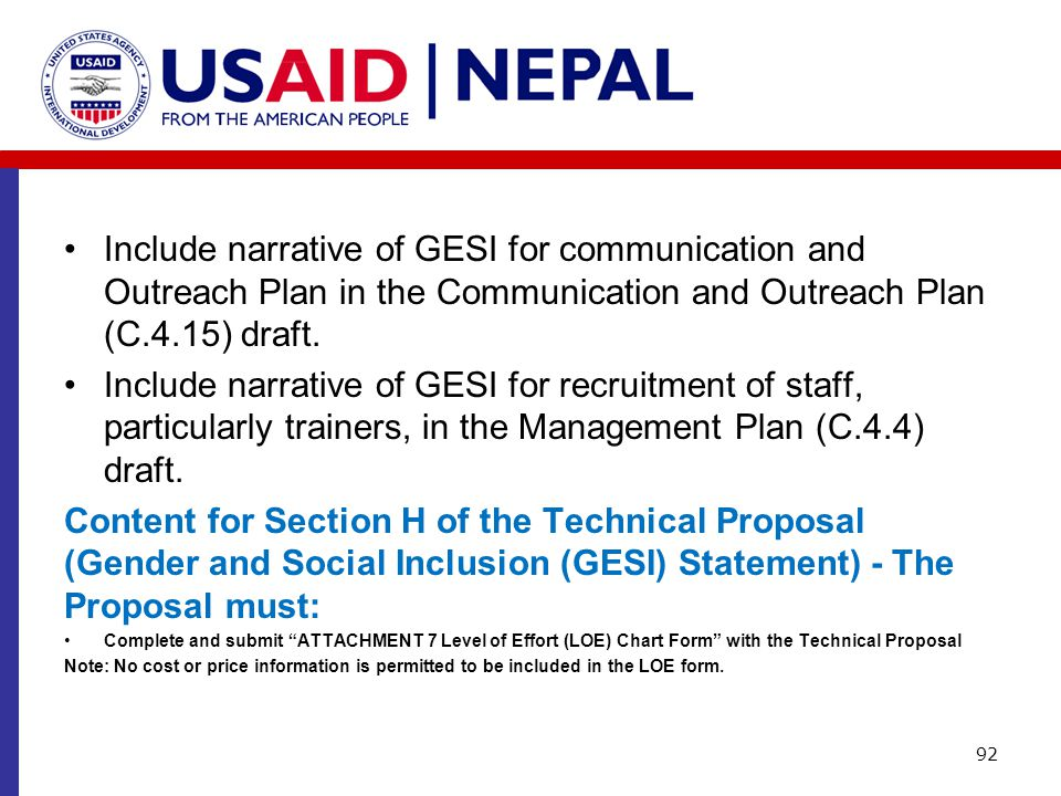 Include narrative of GESI for communication and Outreach Plan in the Communication and Outreach Plan (C.4.15) draft.