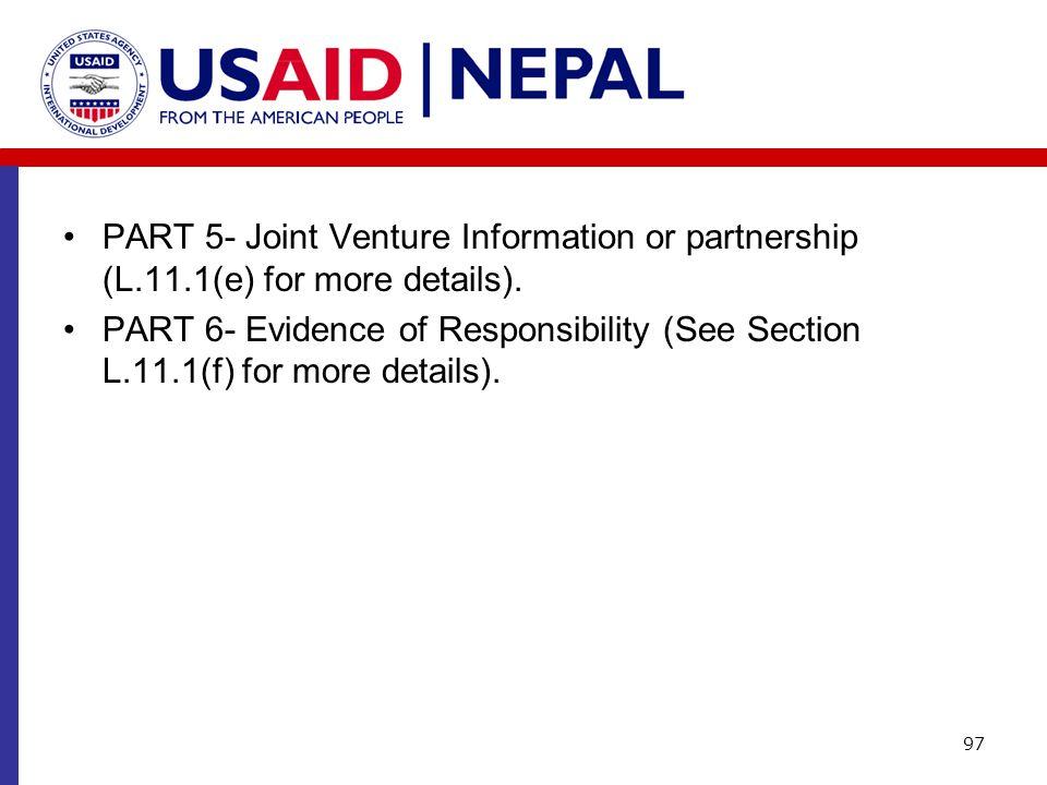 PART 5- Joint Venture Information or partnership (L. 11