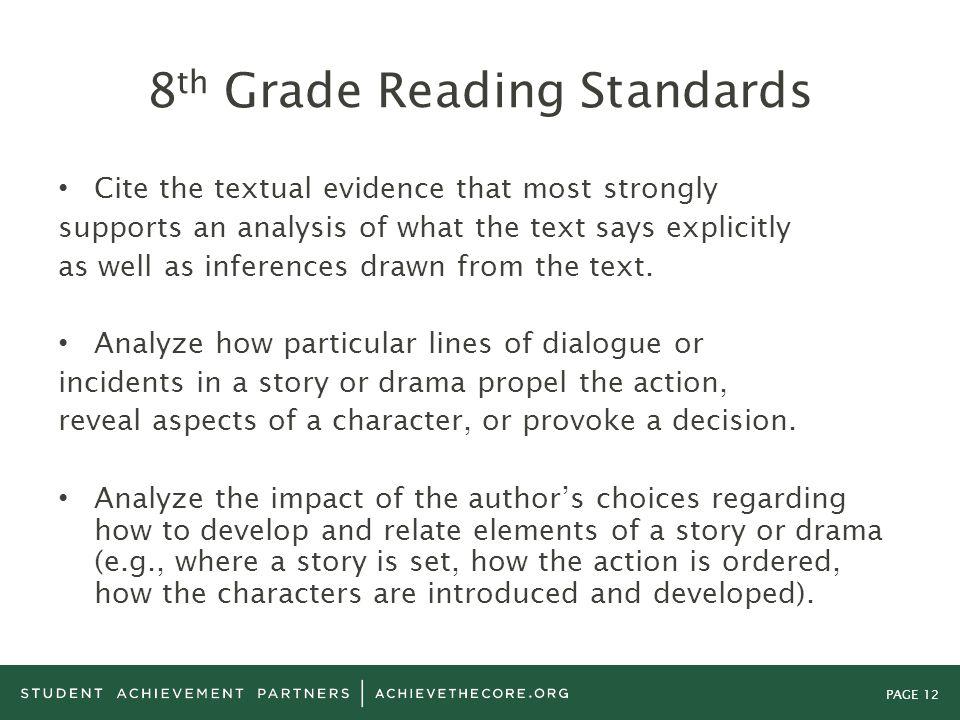8th Grade Reading Standards
