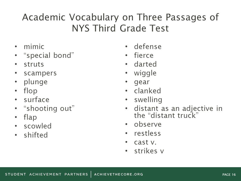 Academic Vocabulary on Three Passages of NYS Third Grade Test