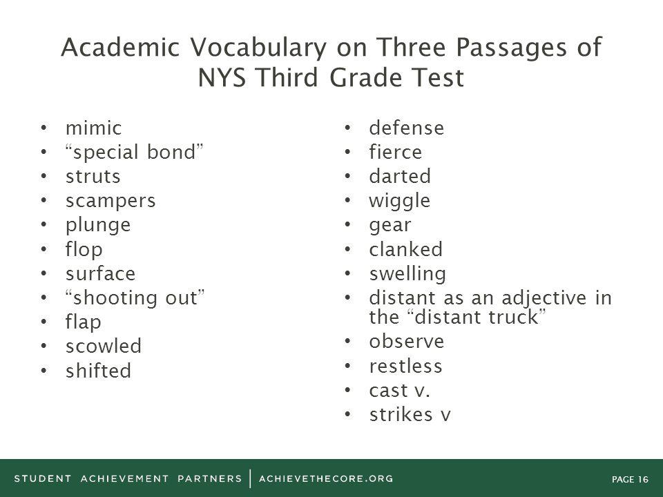 Academic Vocabulary on Three Passages of NYS Third Grade Test
