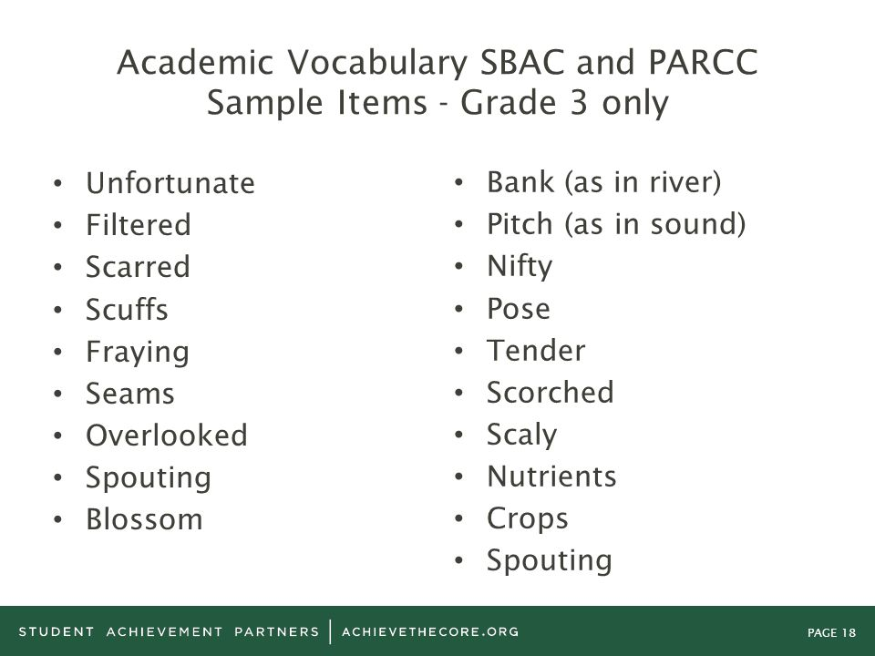 Academic Vocabulary SBAC and PARCC Sample Items - Grade 3 only