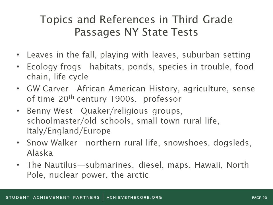 Topics and References in Third Grade Passages NY State Tests