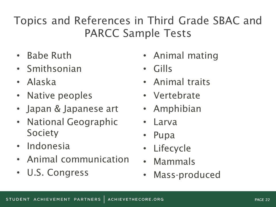 Topics and References in Third Grade SBAC and PARCC Sample Tests