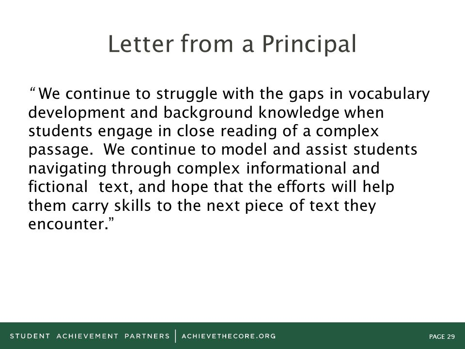 Letter from a Principal