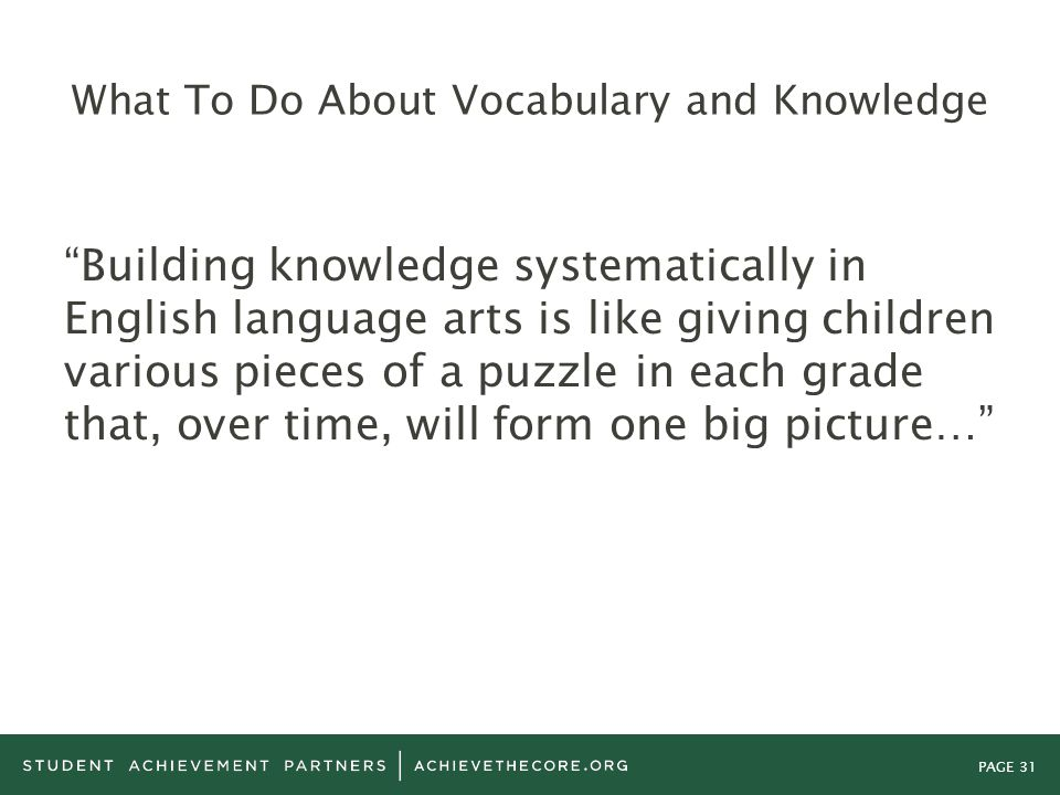 What To Do About Vocabulary and Knowledge