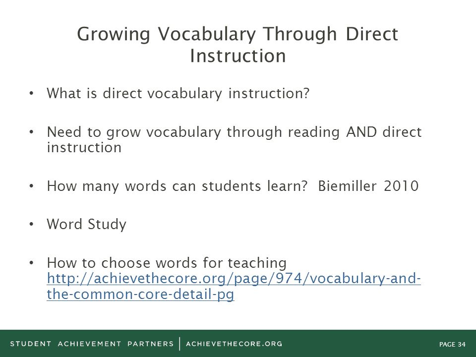 Growing Vocabulary Through Direct Instruction