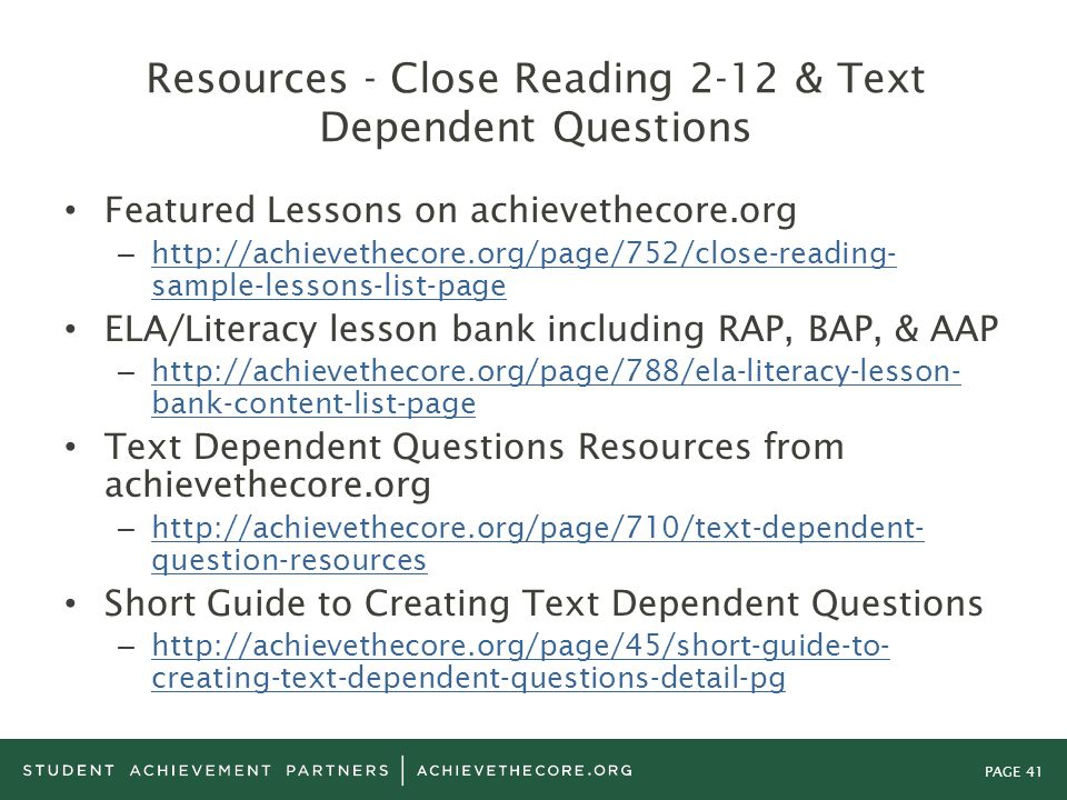 Resources - Close Reading 2-12 & Text Dependent Questions