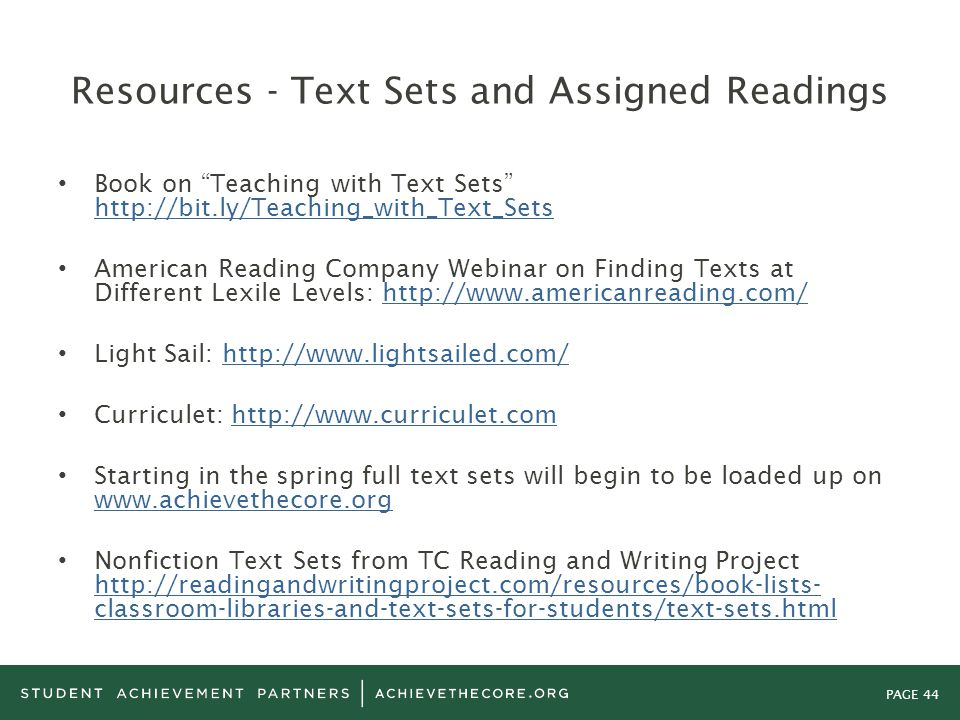 Resources - Text Sets and Assigned Readings