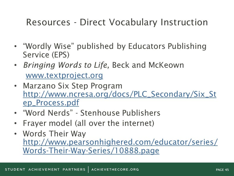 Resources - Direct Vocabulary Instruction