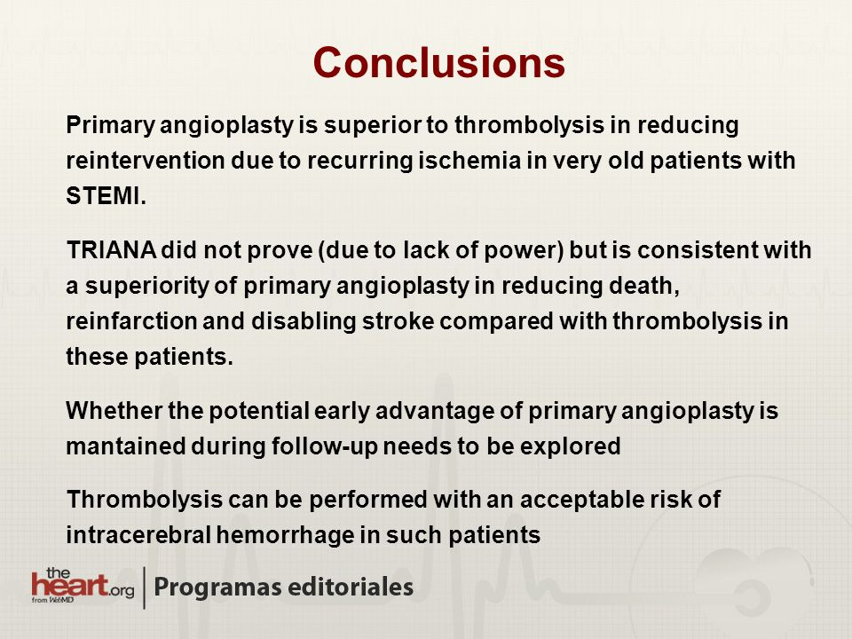 Conclusions Primary angioplasty is superior to thrombolysis in reducing reintervention due to recurring ischemia in very old patients with STEMI.