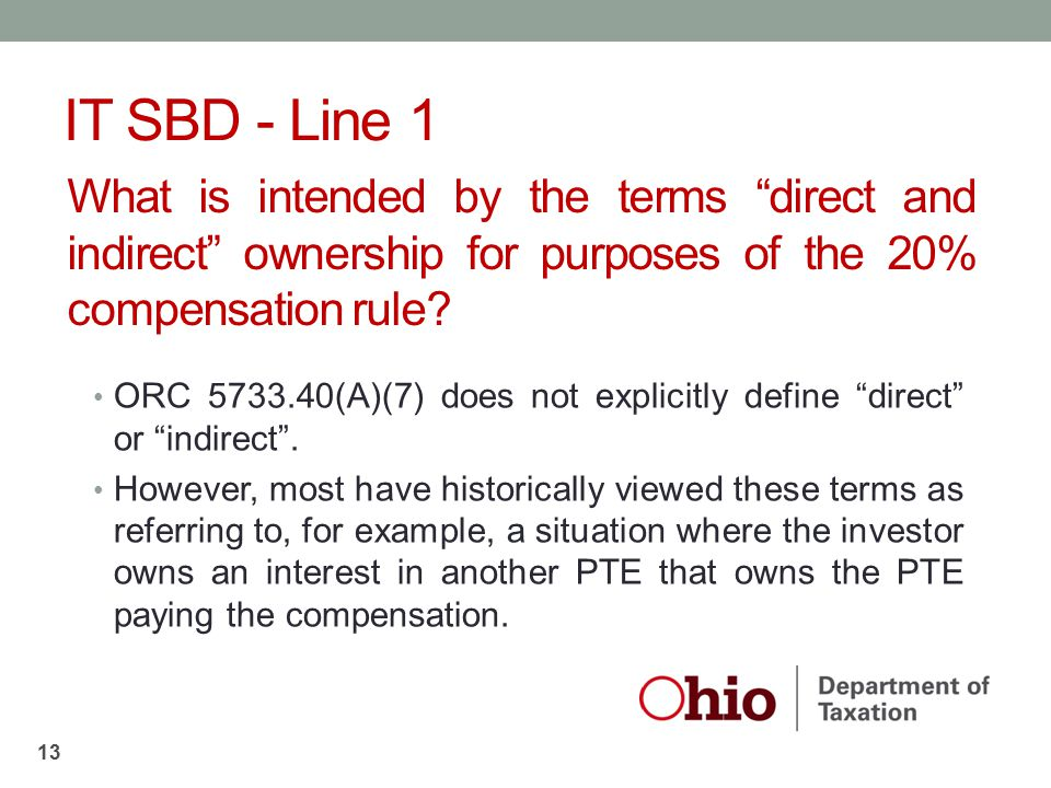 IT SBD - Line 1 What is intended by the terms direct and indirect ownership for purposes of the 20% compensation rule