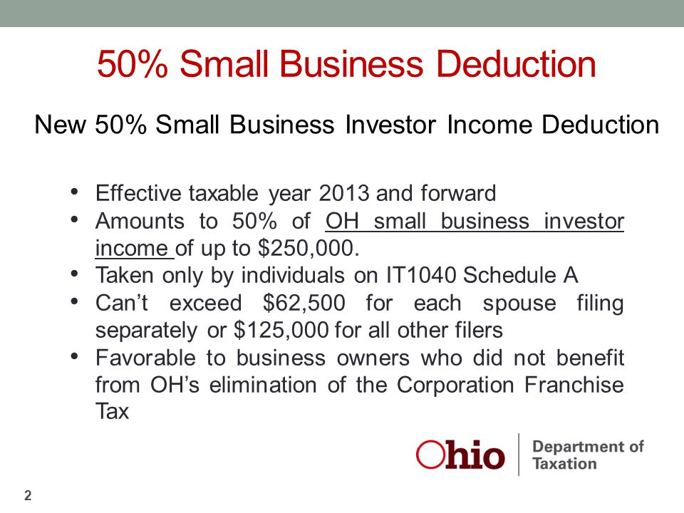 50% Small Business Deduction