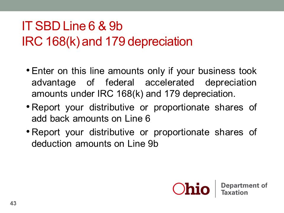 IT SBD Line 6 & 9b IRC 168(k) and 179 depreciation