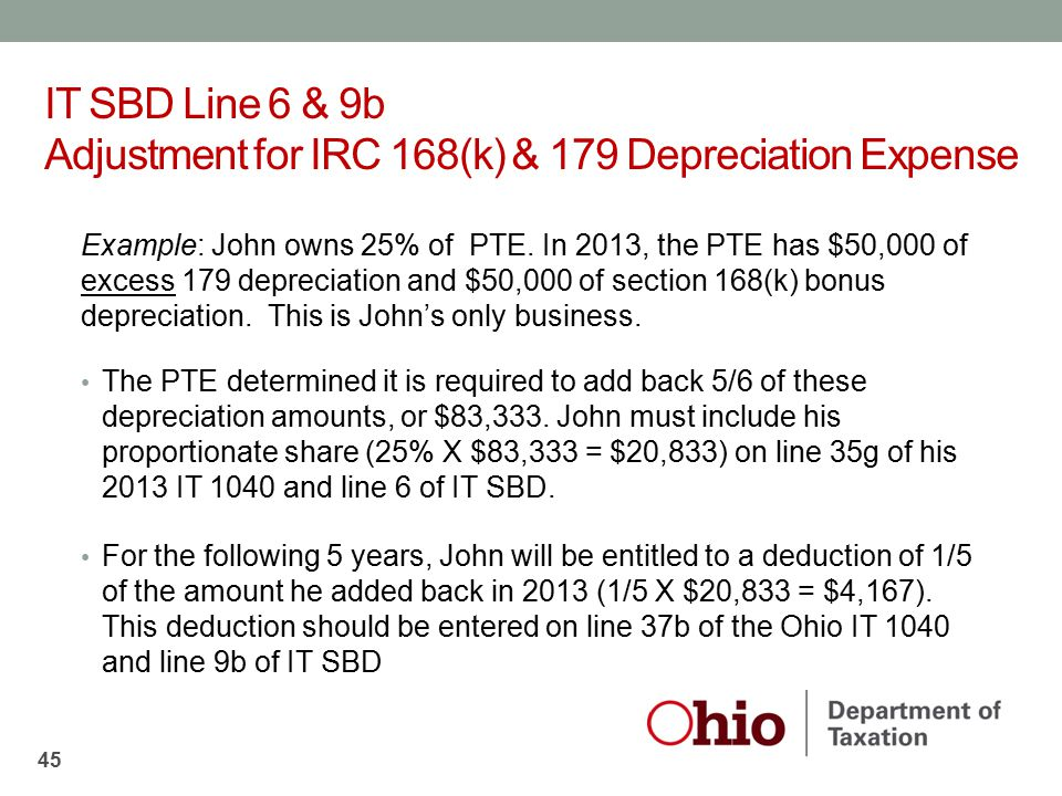 IT SBD Line 6 & 9b Adjustment for IRC 168(k) & 179 Depreciation Expense
