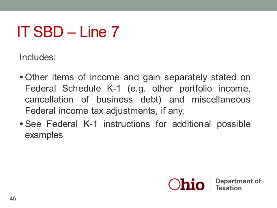 IT SBD – Line 7 Includes: