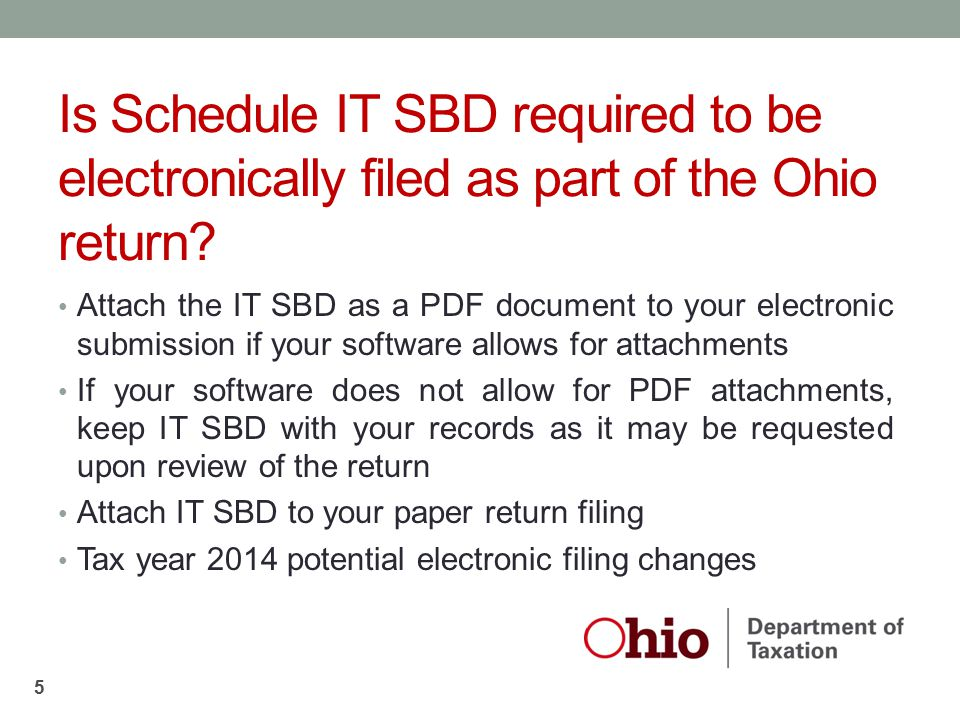 Is Schedule IT SBD required to be electronically filed as part of the Ohio return