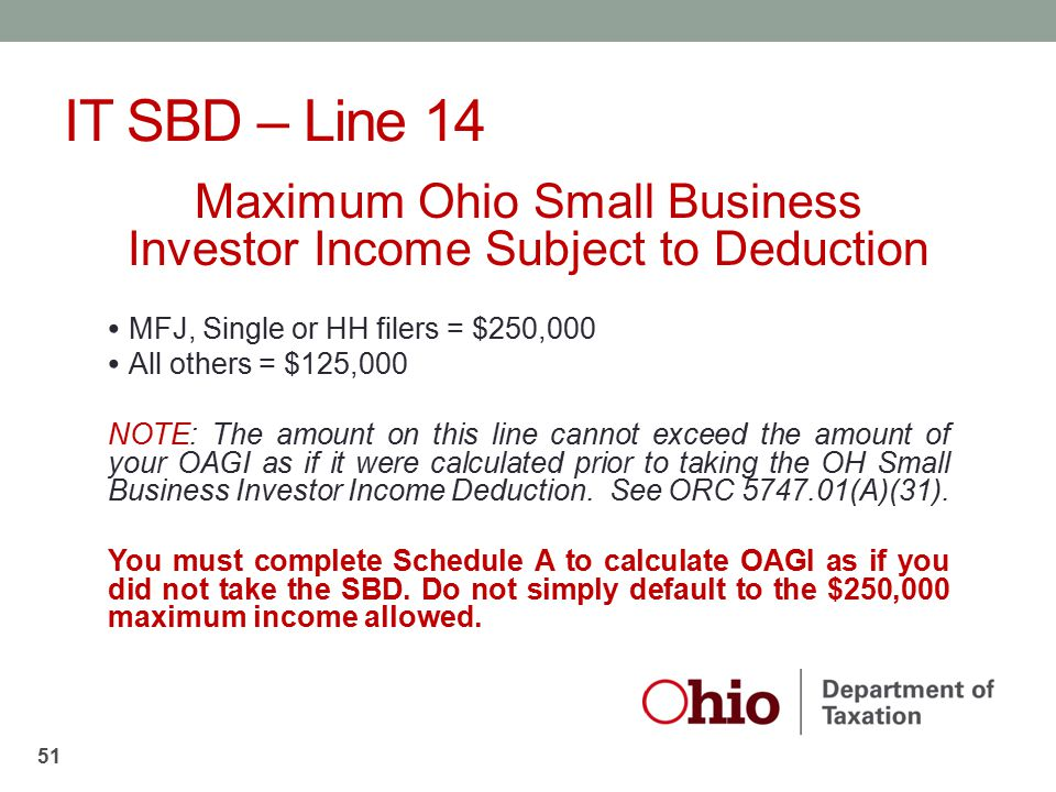 Maximum Ohio Small Business Investor Income Subject to Deduction