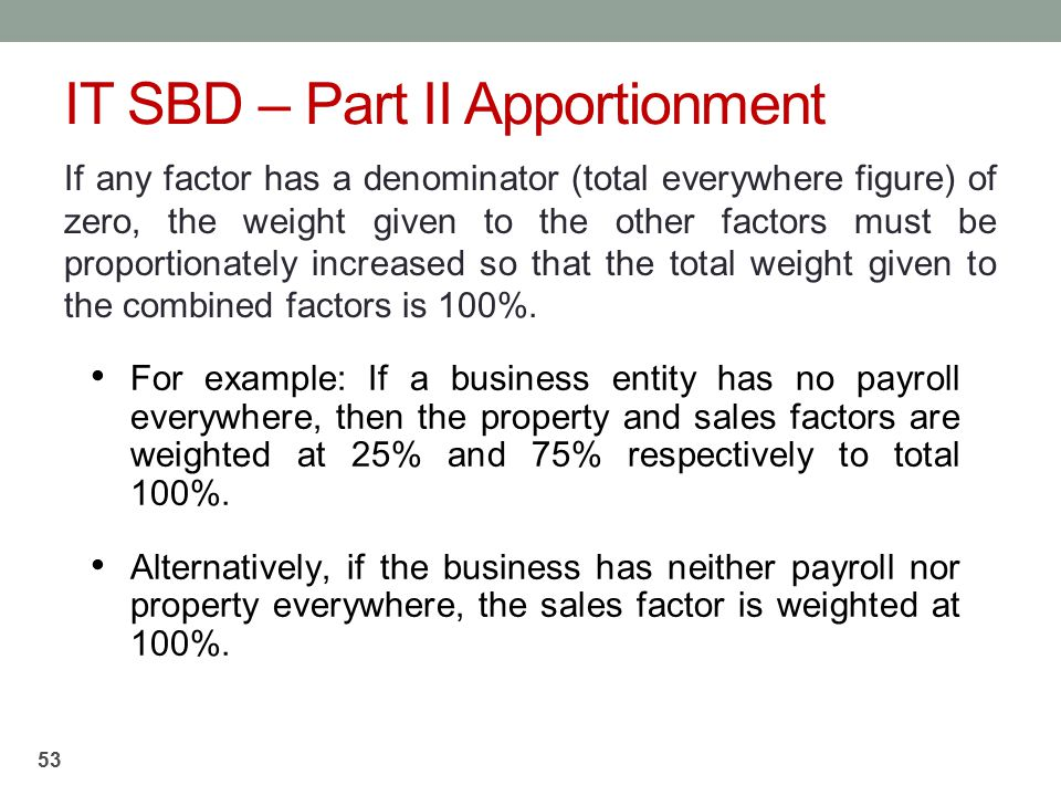 IT SBD – Part II Apportionment