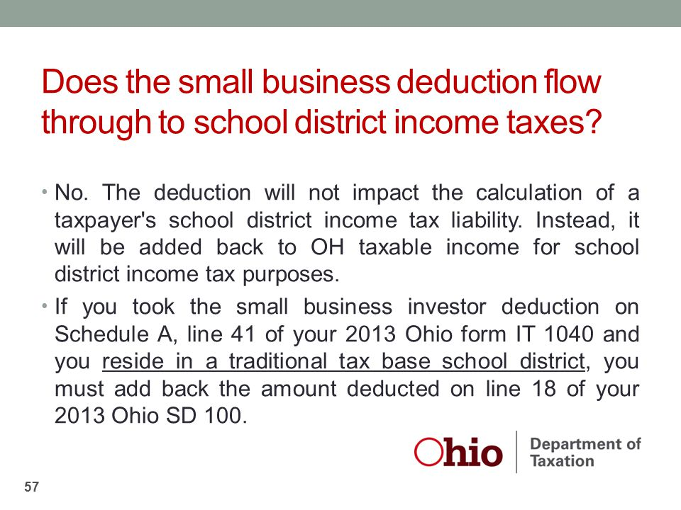 Does the small business deduction flow through to school district income taxes