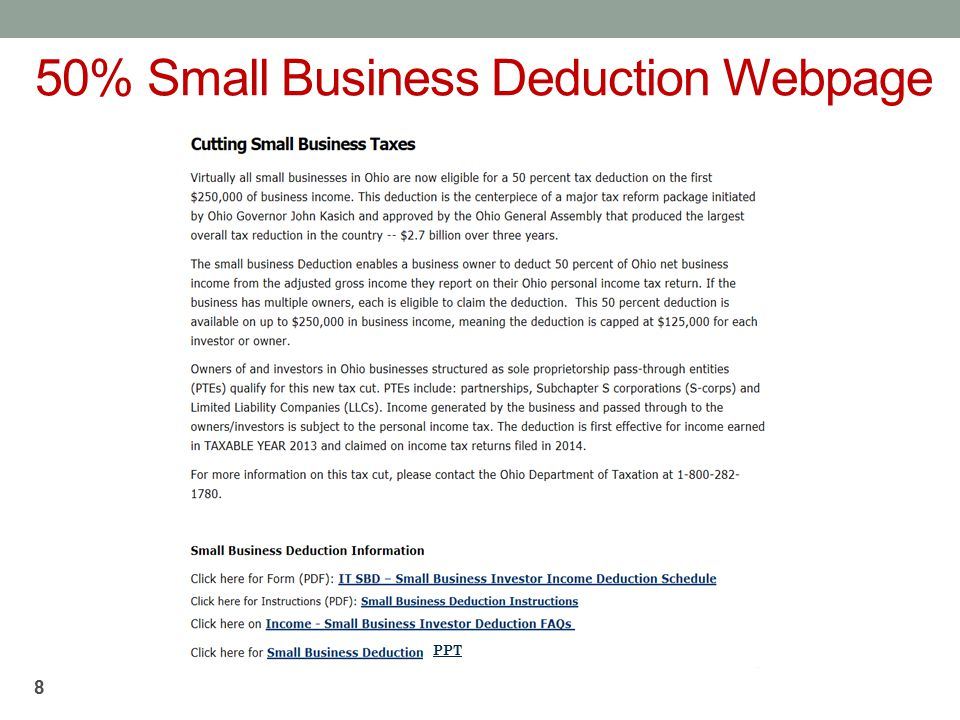 50% Small Business Deduction Webpage