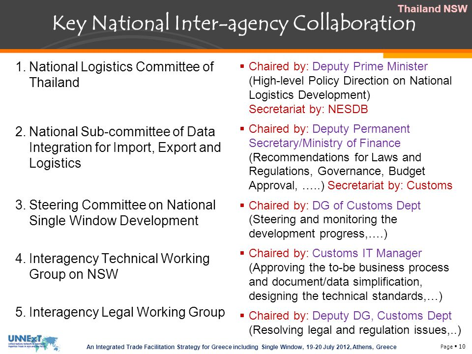 Key National Inter-agency Collaboration