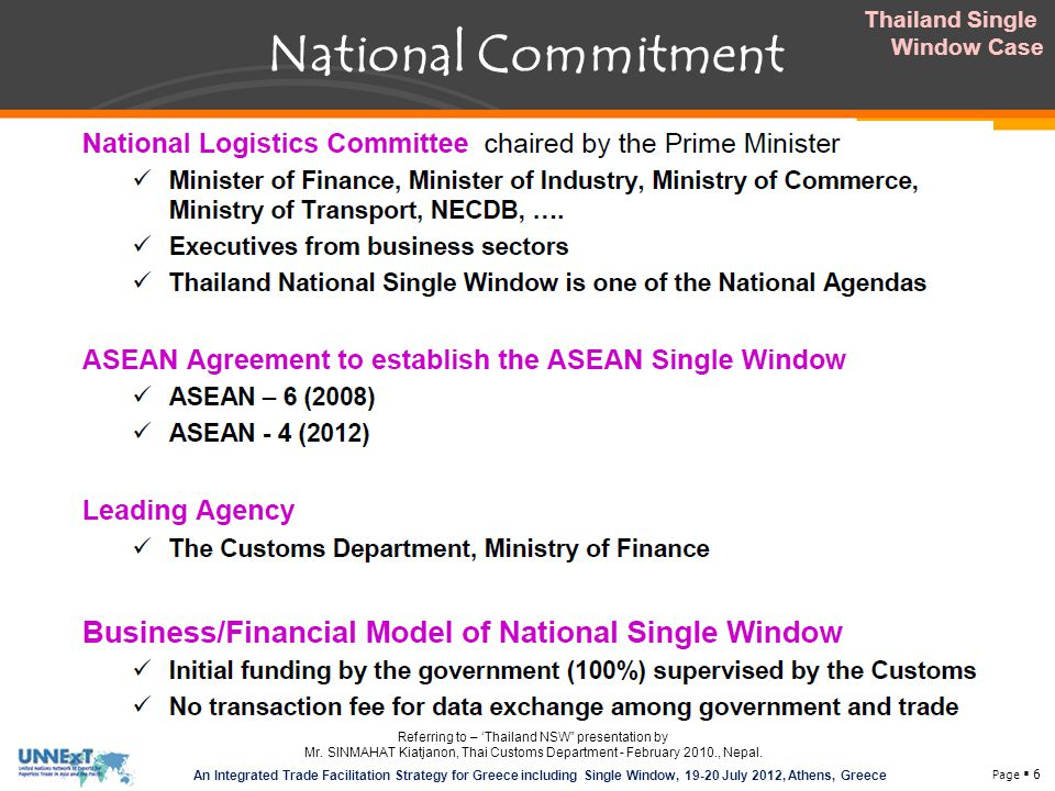 National Commitment Thailand Single Window Case