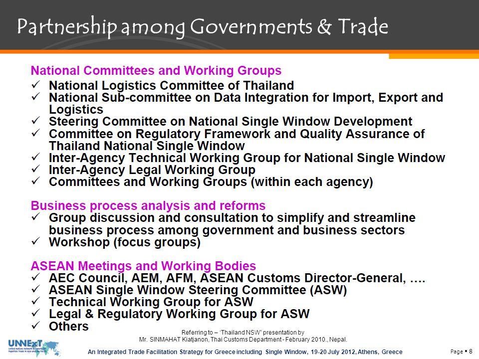 Partnership among Governments & Trade