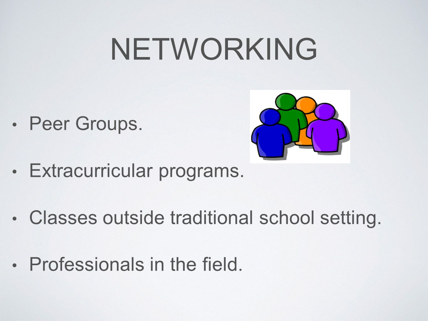 Networking Peer Groups. Extracurricular programs.