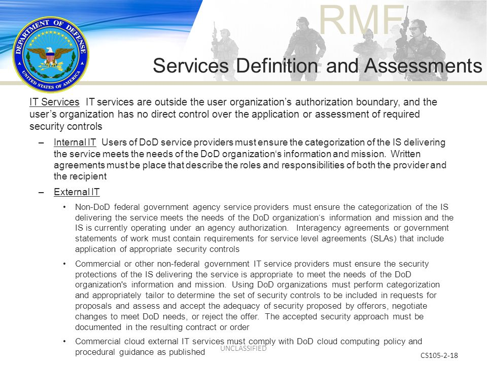 Services Definition and Assessments