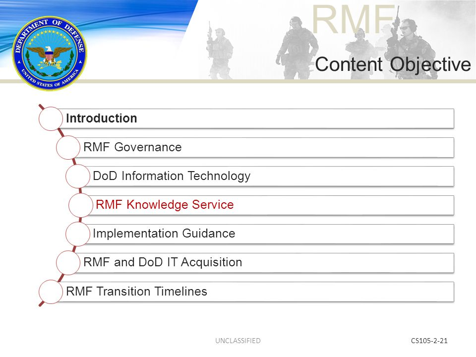 Content Objective UNCLASSIFIED CS105-2-21 Introduction RMF Governance