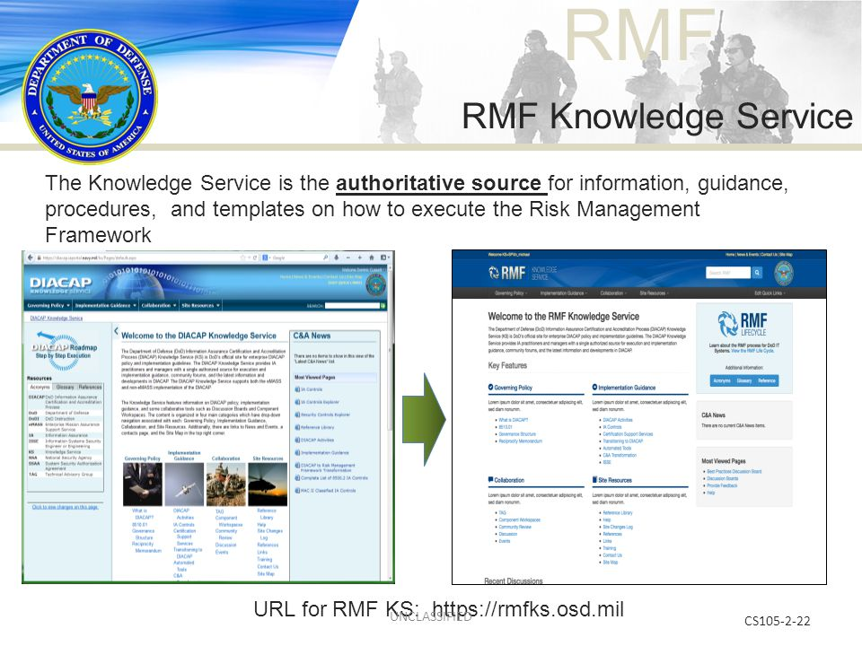 URL for RMF KS: https://rmfks.osd.mil