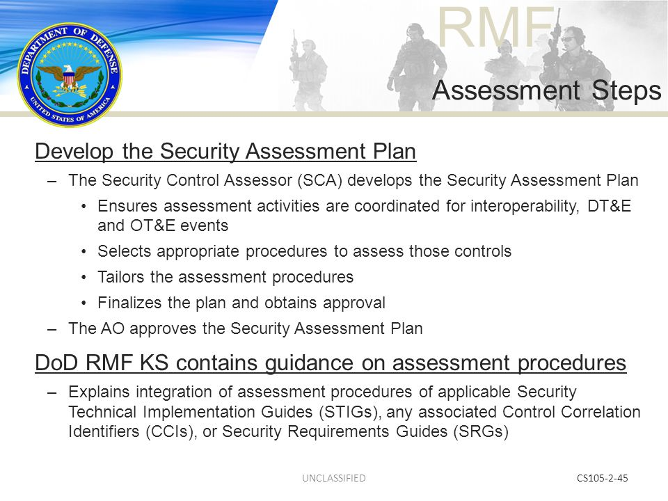 Assessment Steps Develop the Security Assessment Plan
