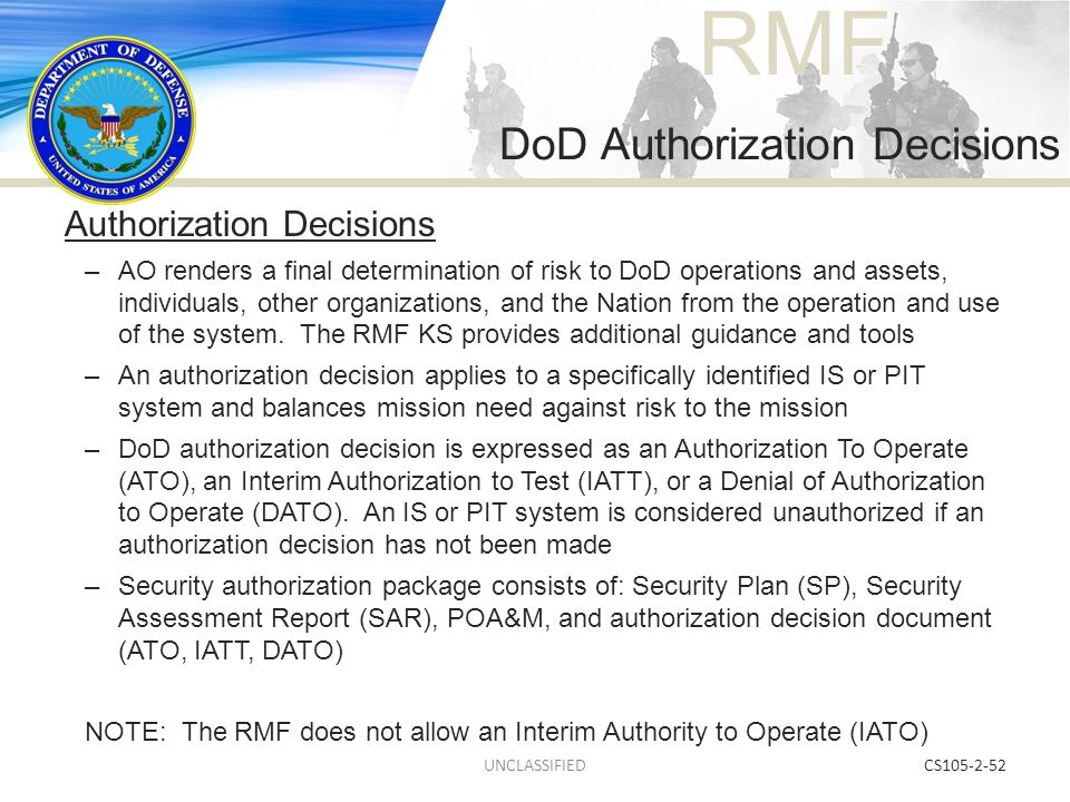 DoD Authorization Decisions
