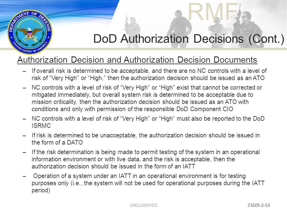 DoD Authorization Decisions (Cont.)
