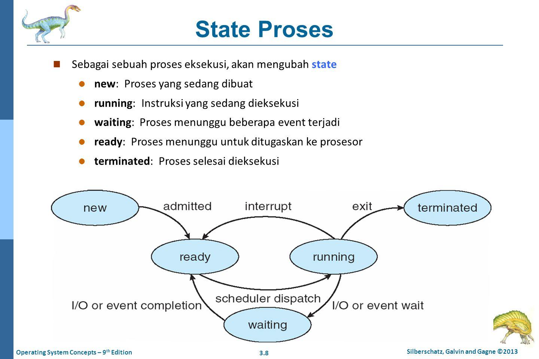 State Proses Sebagai sebuah proses eksekusi, akan mengubah state