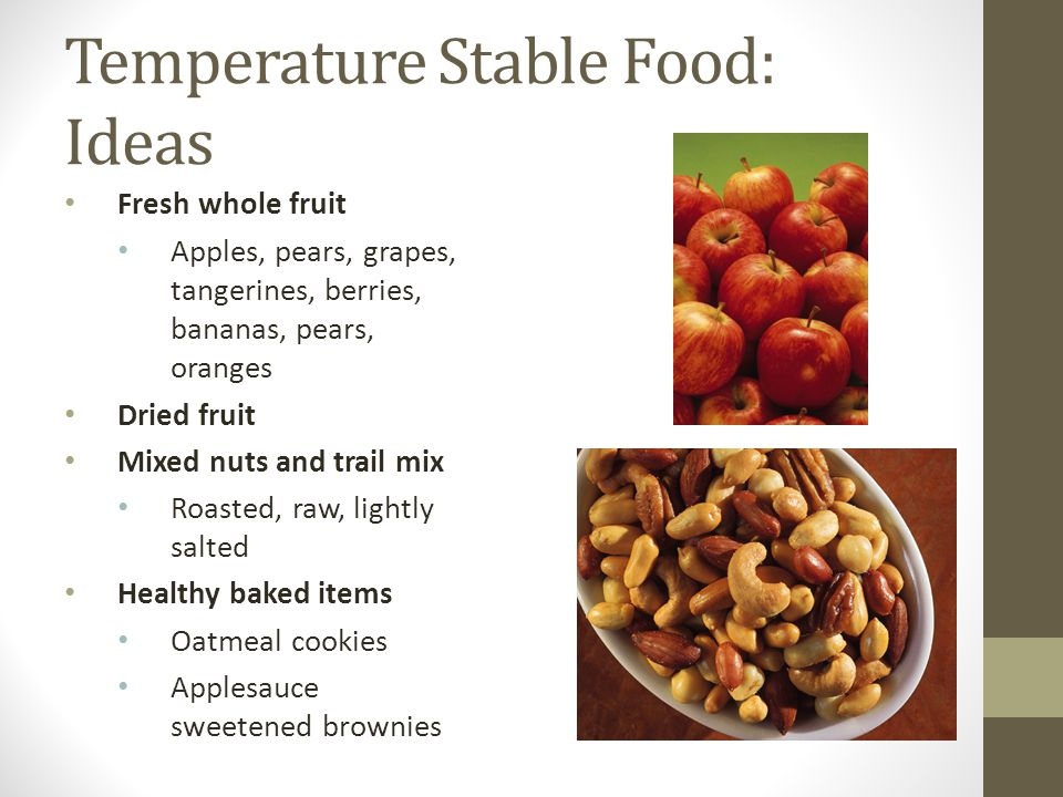 Temperature Stable Food: Ideas