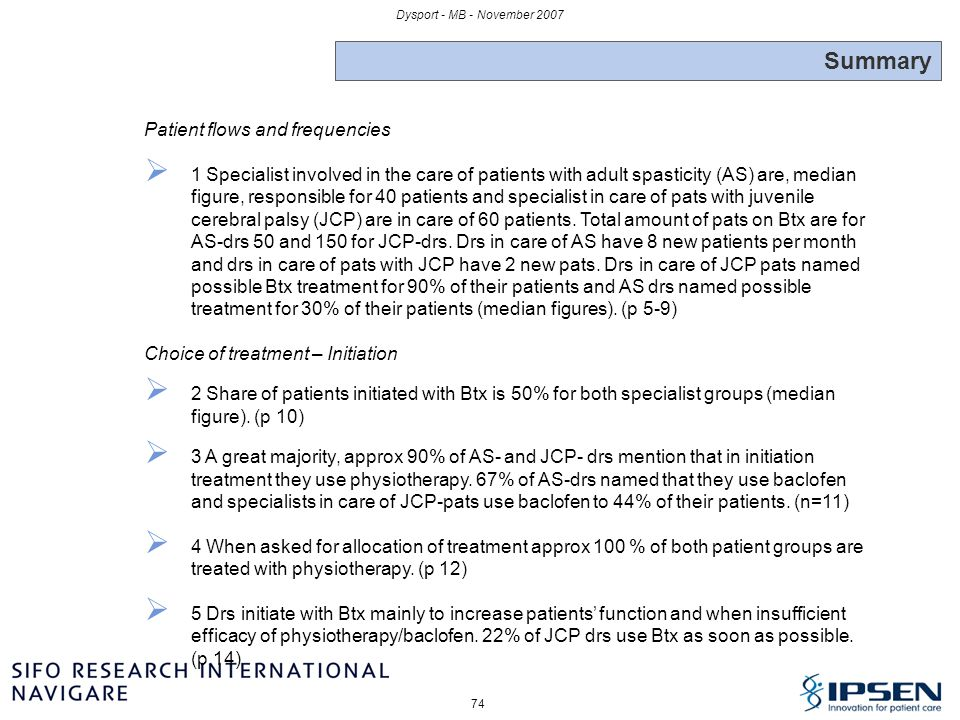 Summary Patient flows and frequencies