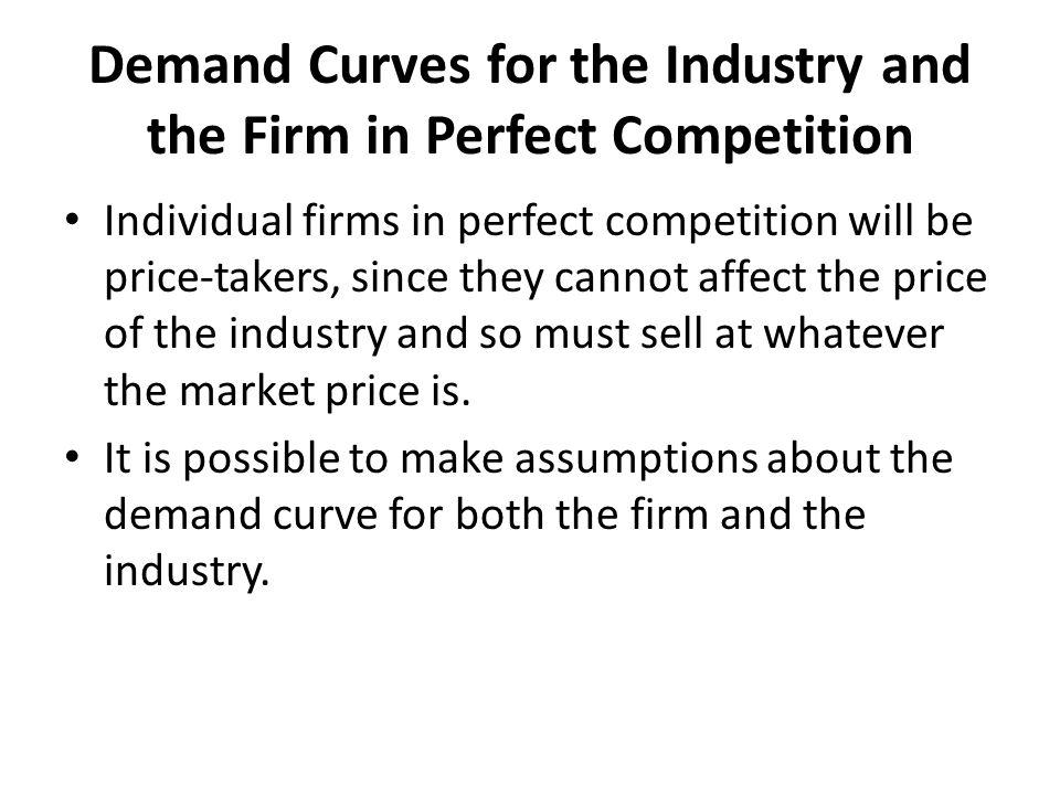 Demand Curves for the Industry and the Firm in Perfect Competition