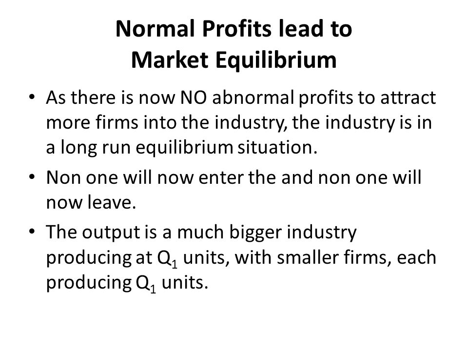 Normal Profits lead to Market Equilibrium