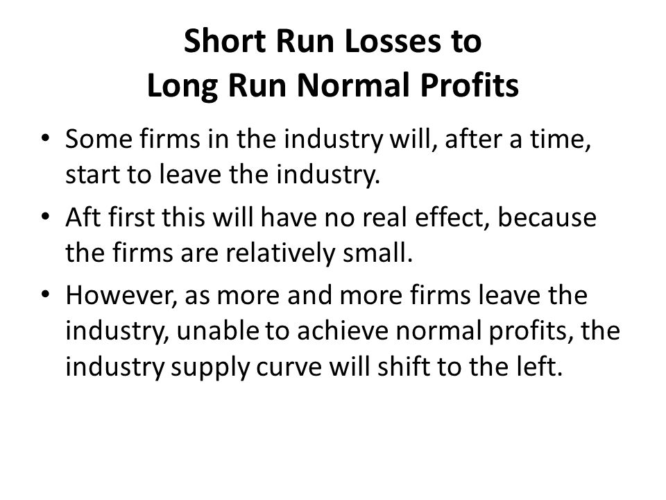 Short Run Losses to Long Run Normal Profits