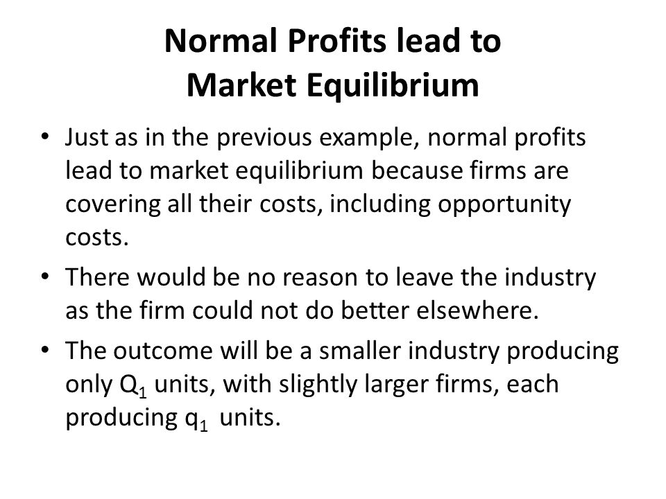 Normal Profits lead to Market Equilibrium